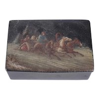 Hand Painted Lacquer Box Troika Scene