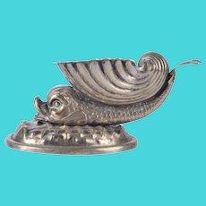 Dolphin & Shell Silver Plate Open Salt