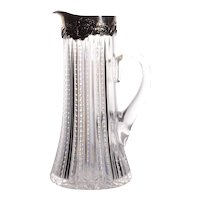 Mauser Mfg Cut Crystal Pitcher With Sterling Silver Rim