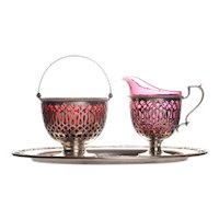 Gorham Sterling Silver Three Piece Cream and Sugar Set