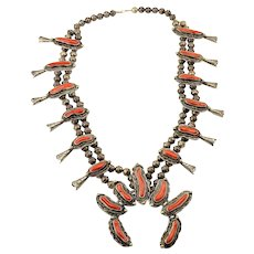 Navajo Coral Squash Blossom Necklace