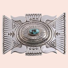 JB Sterling Silver and Turquoise Belt Buckle