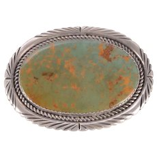 Ronnie Hurley Sterling Silver and Turquoise Stone Belt Buckle