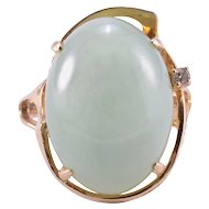 Oval Jade and Diamond Ring