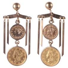 One Dollar Gold Coin Earrings