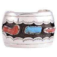 Navajo Shadow Box Sterling Silver Cuff Bracelet