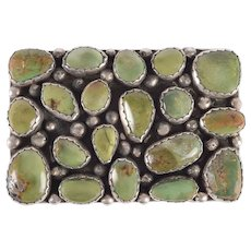 JC Green Turquoise and Sterling Silver Belt Buckle