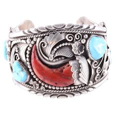 Navajo Turquoise & Chili Pepper Coral Sterling Silver Cuff Bracelet