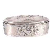 Storck & Sinsheimer 800 Silver Repousse Dresser Box with Putti