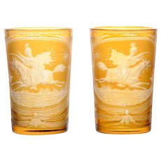 Etched Amber Glass Pair of Beakers