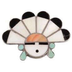 Native American Sun Face Brooch