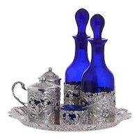 J D Schleissner & Sohne Sterling Silver Cobalt Condiment Set