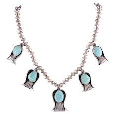 B Begay Navajo Turquoise Sterling Silver Necklace