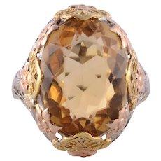 Citrine Tri Color Gold Filigree Ring