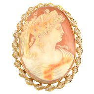 Shell Cameo 14K Pin or Pendant With Seed Pearls