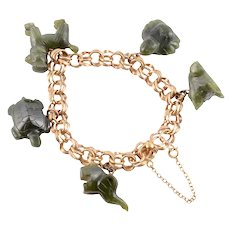 Dark Green Jade Charm Bracelet