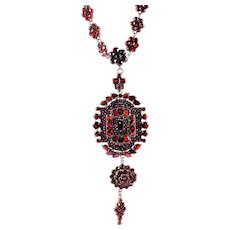 Victorian Czech Garnet Drop Pendant Necklace