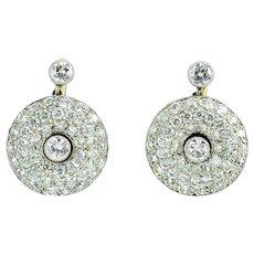 Platinum 2.46 CTW Diamond Circular Earrings