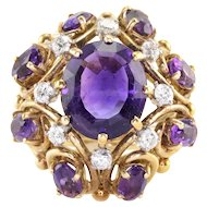 4.0 Carat Center Amethyst and Diamond 18K Gold Ring