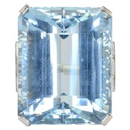 46.88 Carat Aquamarine and Diamond Platinum Ring