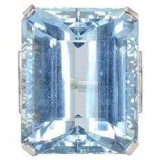 46.88 Carat Aquamarine and Diamond Platinum Ring