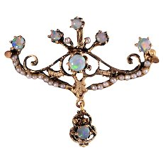 Opal & Seed Pearl Brooch or Pendant