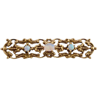 Vintage Opal 14K Yellow Gold Filigree Bar Pin