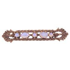 Vintage Opal Bar Pin Open Filigree Setting