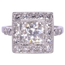 1.5 Carat VS2 Center Diamond Art Deco Ring