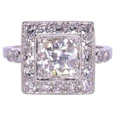 1.5 Carat VS2 Center Diamond Art Deco Ring