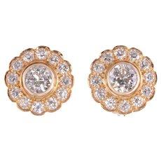 4.30 CTW Rosette Diamond Earrings