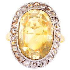 18K Gold and Platinum Oval Citrine and Diamond Ring