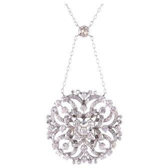 2.21 CTW Diamond Platinum Pendant and Chain