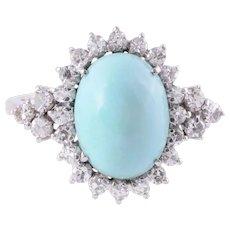 Turquoise & Diamond 18K White Gold Ring