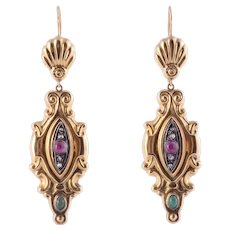 18K Gold & Silver Earrings with Rubies & Emeralds