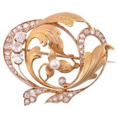 Diamond & Pearl 18K Gold Brooch