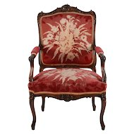 American Walnut Floral Design Arm Chair