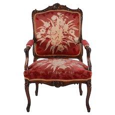 American Walnut Floral Design Arm Chair