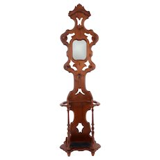 American Carved Walnut Hall Tree With Mirror
