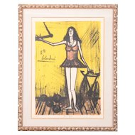 Colored Lithograph Entitled Mlle Columbine by Bernard Buffet