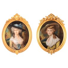 English Pair of Pastel Portraits With Gilt Frames