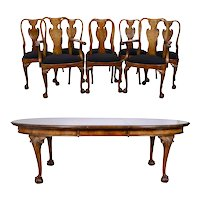 Cole Bros Ltd Burl Walnut Dining Table with Eight Chairs