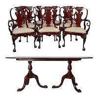 10 Chair Burl Dining Set