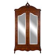 Two Door Mirrored Walnut Armoire