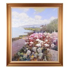 Kwok Leung Law Harbor Scene with Floral Garden