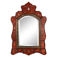 Floral Bordered Wood Wall Mirror