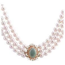 Three Strand Pearl Necklace with Jade Clasp