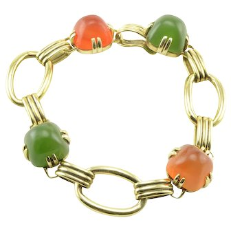 Nephrite and Carnelian Link Bracelet