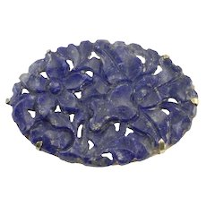 Floral Carved Lapis Pin