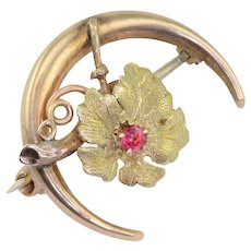 Ruby Centered Flower in Crescent Moon Pin